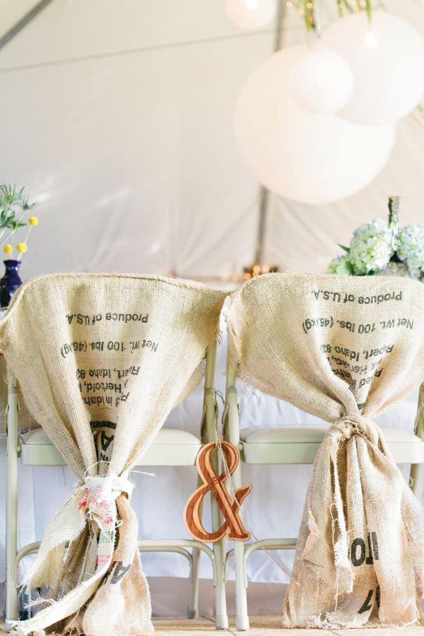 handmade coffee sack covers dress up plain folding chairs | Melissa Schollaert #wedding