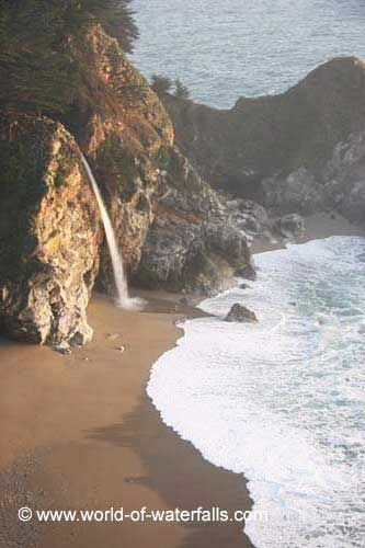 USA - California. McWay Falls drops about 80 ft. directly into the Pacific. I believe it's the only one that has this feature. It is part of Big Sur.
