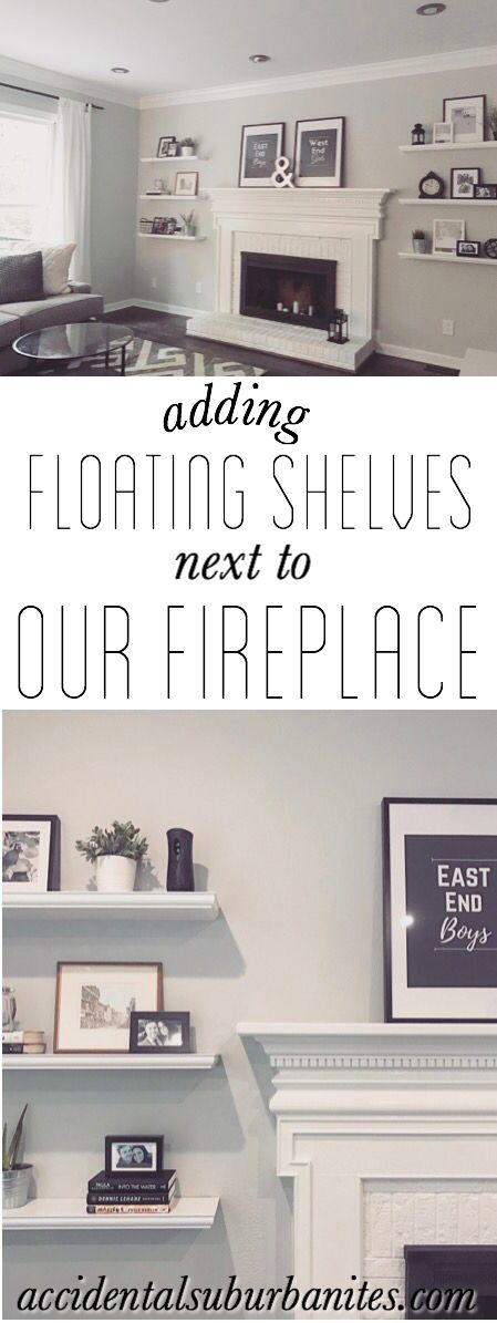 Floating shelves diy living room fireplace mantle white brick fireplace