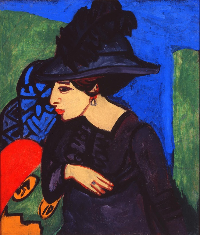 """Ludwig Kirchner, """"Dodo with a Feather Hat"""" German, 1911"""