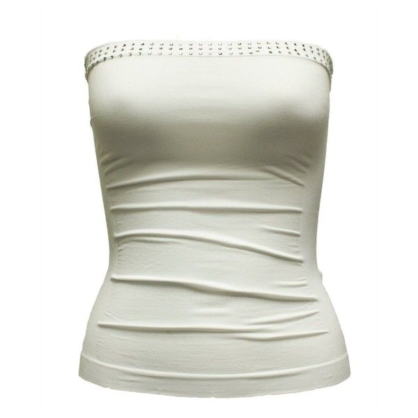 Ladies White Seamless Stone Set Tube Top (€8,84) ❤ liked on Polyvore featuring tops, shirts, blusas, tank tops, tube tops, stone top, white tube top, seamless tube top, shirt top and white tube top shirt