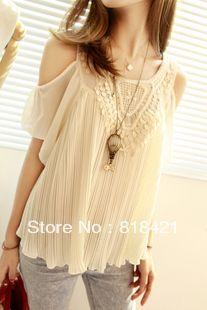 2013 verão mulheres sexy senhoras vintage crochet do laço de chiffon plissado camisa lotus folha manga off