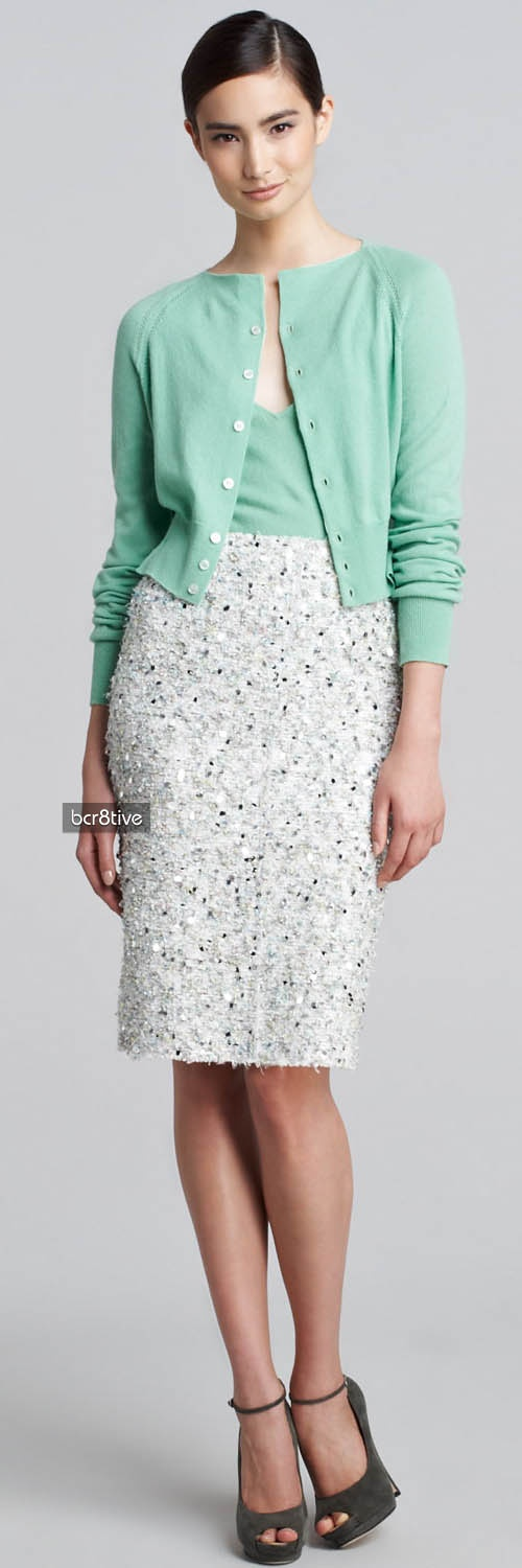 Nina Ricci Cashmere Cropped Cardigan, Sleeveless Pullover & Tweed Paillette Skirt