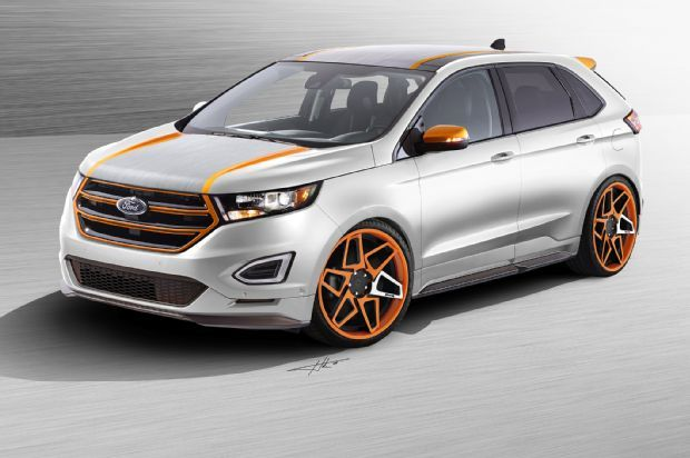 "2016 Ford Edge by Vaccar. The Ford Edge by Vaccar ""puts style first."" An eye-catching orange-on-silver color scheme sets the pace for the concept, with many surfaces trimmed in the orange color."