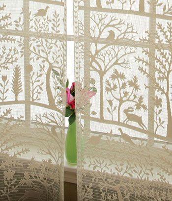 Tree of Life lace curtain panels from Country Curtains.