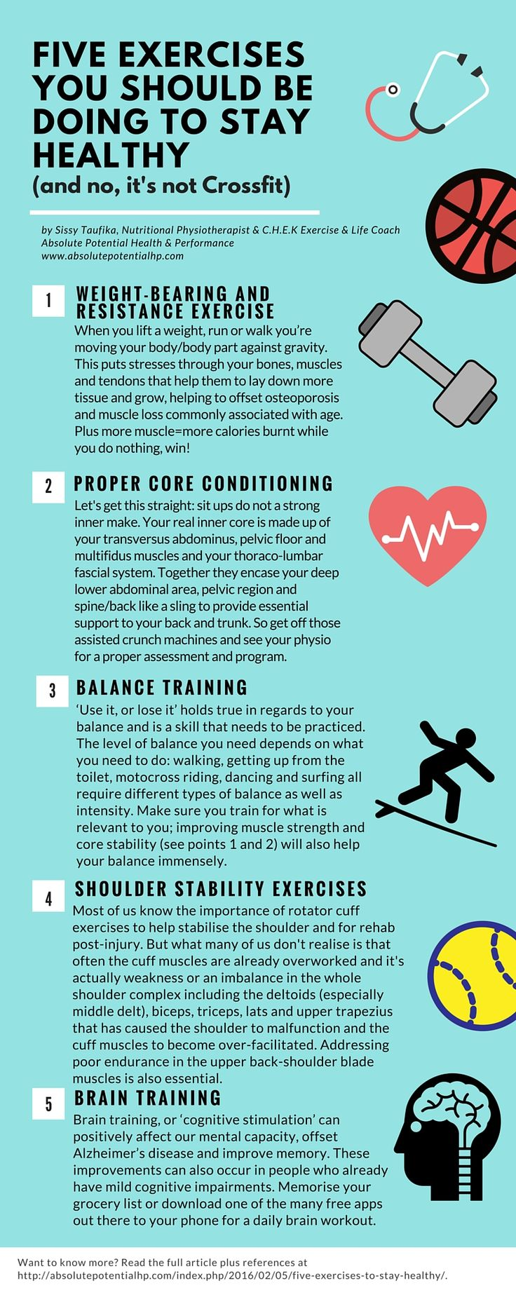 Five essential exercises to stay healthy, strong and painfree. From Absolute Potential's in-house Physiotherapist & CHEK Practitioner