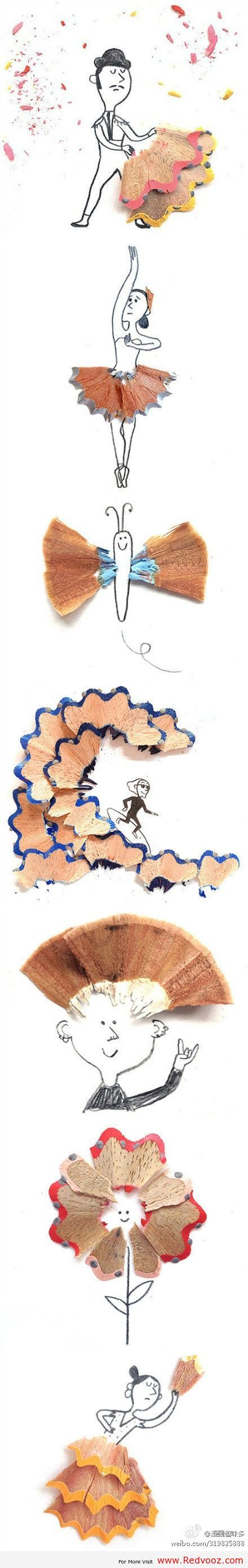 Pencil Shaving Art: Creative drawings by London based children's book author & illustrator Marta Altes..