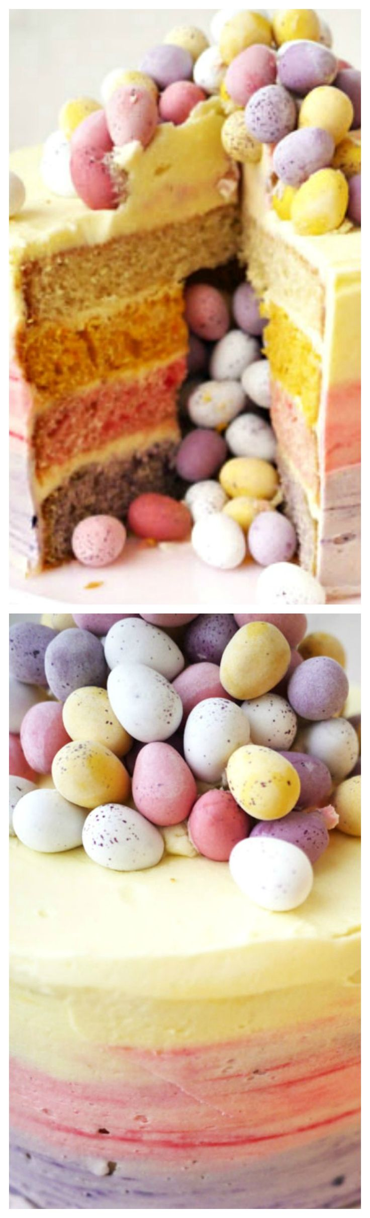 Mini Egg Ombre Pinata Layer Cake ~ The cake would make the perfect show-stopper for an Easter celebration. It's a whopper but it's surprisingly simple.