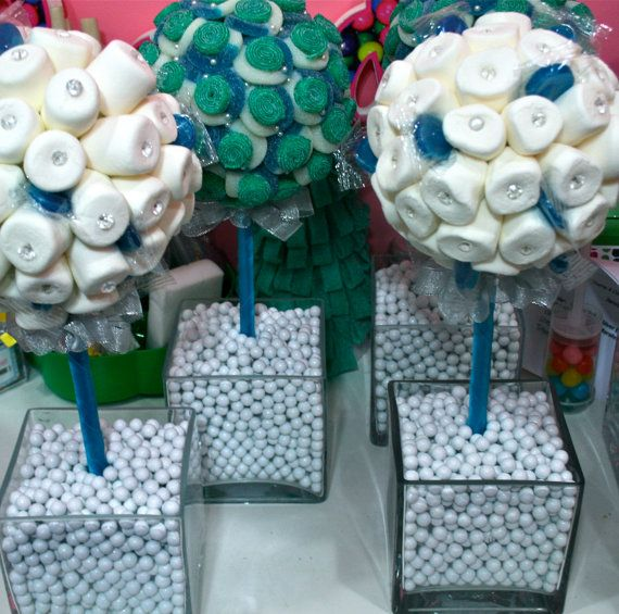 blue and white dessert bar   Blue White Marshmallow Lollipop Candy Land Centerpiece Topiary Tree ...