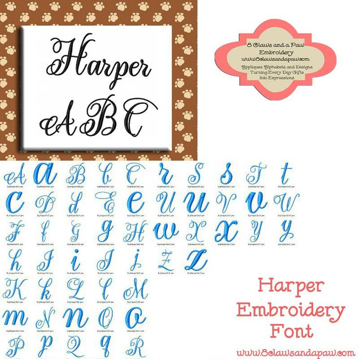 Harper Embroidery Font includes 3 Sizes Great for Monograms $2.95