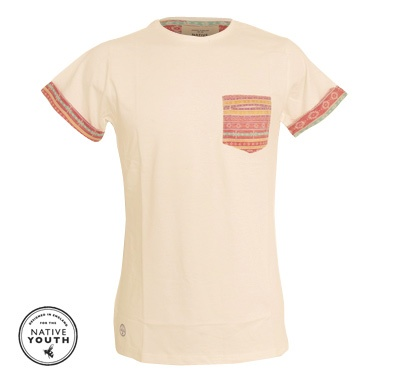 Native Youth Aztec pocket t-shirt with matching sleeve details.