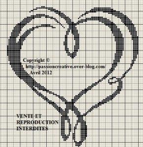 Grille gratuite point de croix : Coeurs entrelacés (Merci Isabelle).