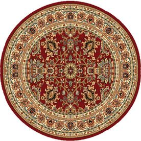 Lowes   Home Dynamix Paris Round Red Floral Woven Area Rug (Common: X  Actual: X