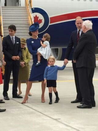 Catherine Duchess of Cambridge holding Princess Charlotte, Prince George, William Duke of Cambridge just landed in Canada for the start of their tour. September 24 2016