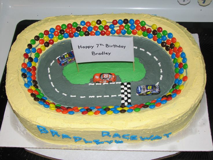 Raceway Stadium - This was for my son's 7th birthday.  I used a 2 layer 1/2 sheet cake and carved the stadium out of it.  Buttercream for the icing, m&m's for the crowd, chocolate race cars.  Everyone loved it!!!