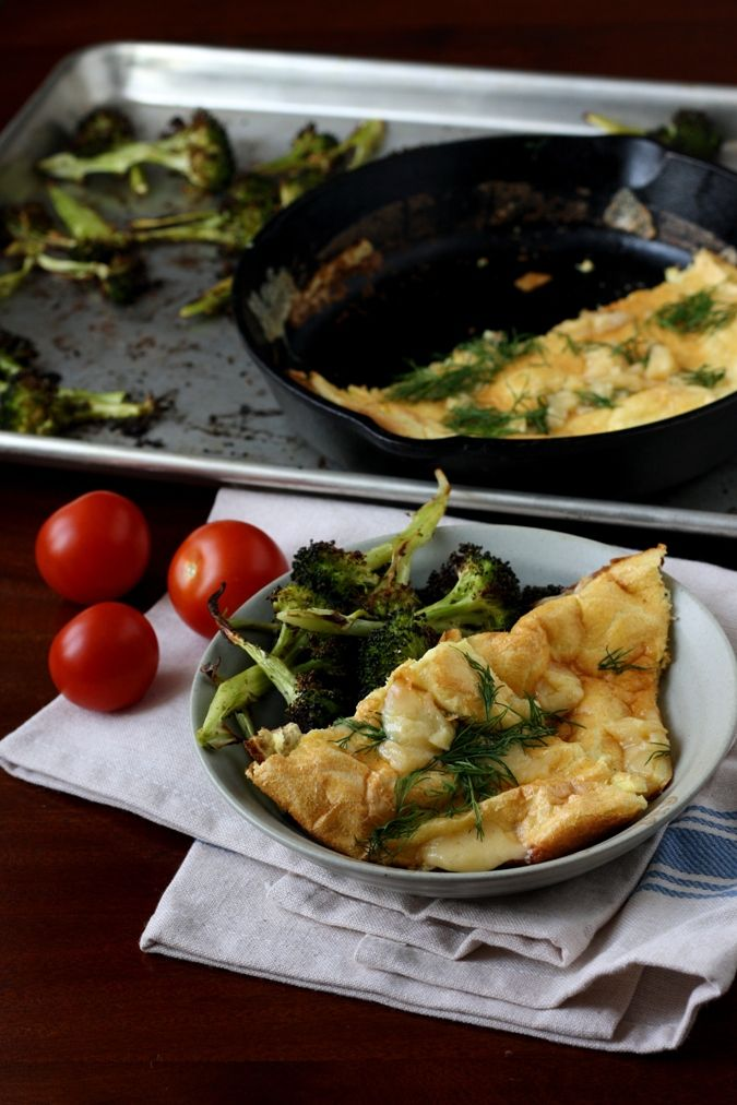 Where Do I Find Inspiration For Cooking? Roasted Broccoli & Savory Dutch Pancake With Dill. Vegetarian. Perfect for Meatless Monday! @thekitchn