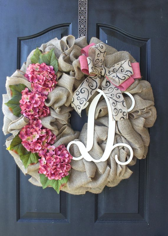 Hydrangea Wreath - Burlap Wreath - Wedding Wreaths - Door Wreath - Etsy Wreath - Shabby Chic Decor - Summer wreath - Home decor- Spring Wreath - We