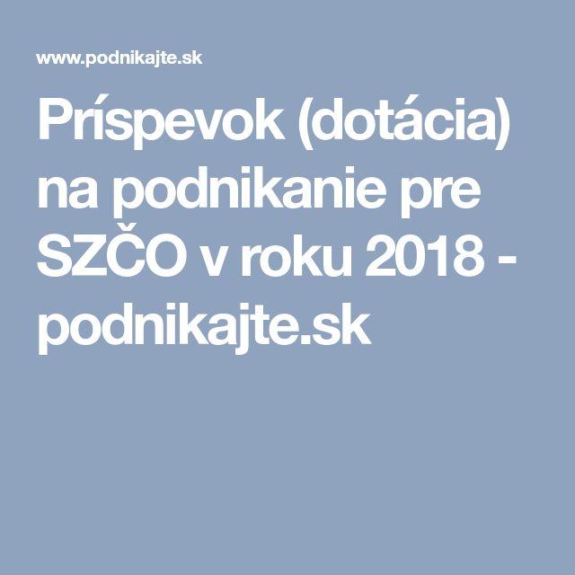 Príspevok (dotácia) na podnikanie pre SZČO v roku 2018 - podnikajte.sk