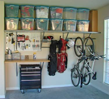 Our garage will be this organized so help me.         Monkey bar and shelf system for garage. This is amazing for such a small space.
