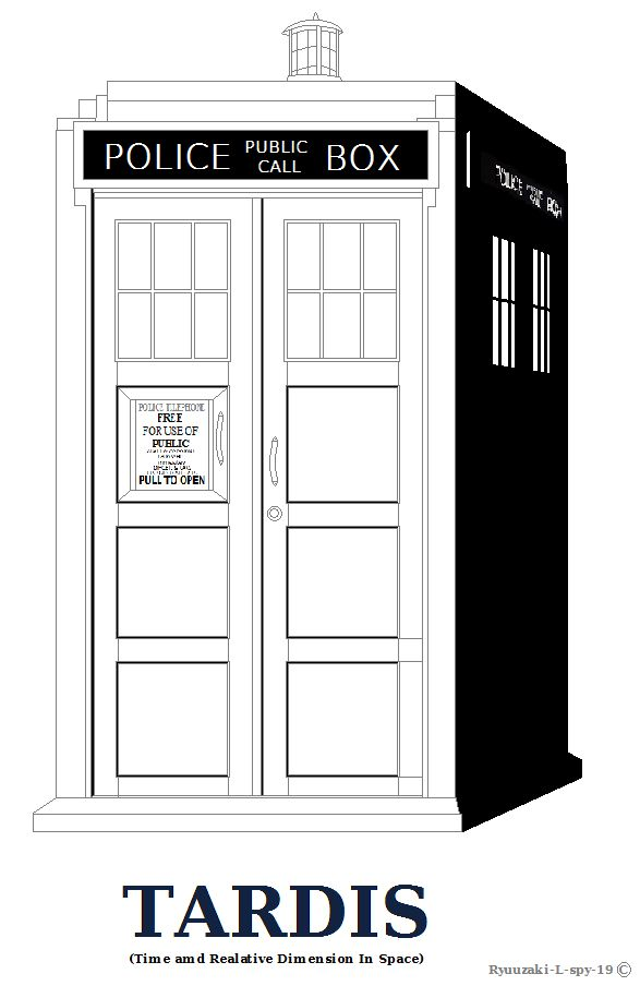 dr who coloring pages tardis outline or coloring page shaded ver by