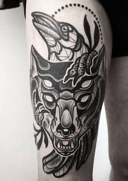 black work wolf and crow by @kreskatattoo