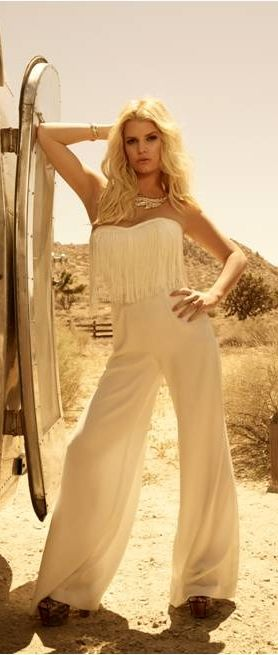 Jessica Simpson rocking her fringe jumpsuit for fall and winter! Be sure to tune in to The List with Colleen Lopez on 9/17 at 9pm ET to see all of the collection!