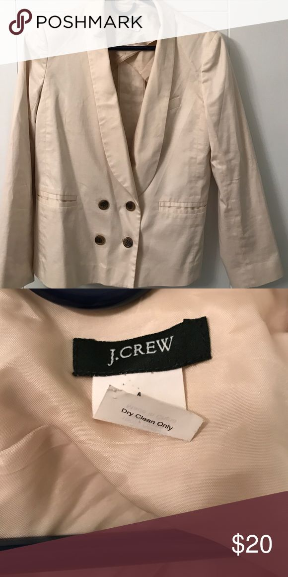 J crew women's tuxedo blazer Double breasted tuxedo jacket in cream cotton. Lined shoulders and sleeves.  Very good condition - no flaws. J. Crew Jackets & Coats Blazers