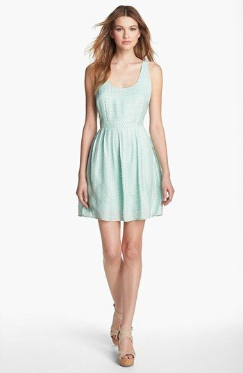 BB Dakota 'Maggie' Dress available at #Nordstrom Beautiful mint color, very subtle polka dots. Comes in many sizes, on sale at Nordstrom.