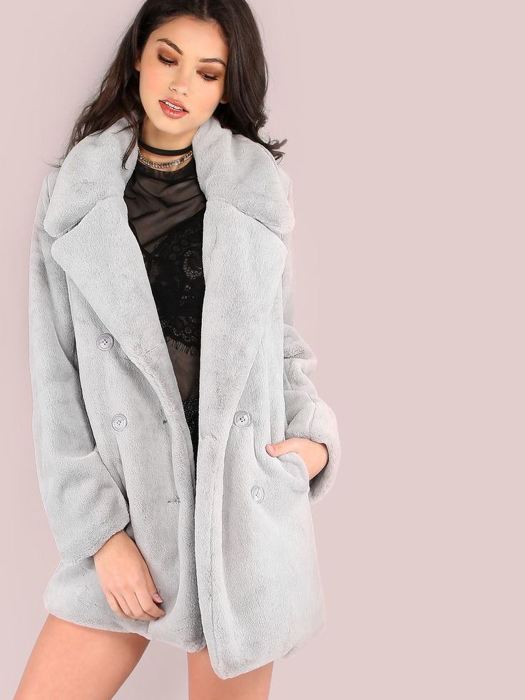 """Ravish like the high class woman you are with this luxurious outerwear. Featuring ultra luxe soft faux fur material, double breasted button closure, two hidden side pockets and a tailored look. Coat measures 33"""" in. from top to bottom hem. Wear over a LBD and transparent heels. #monochrome #MakeMeChic #style #fashion #newarrivals #fall16"""