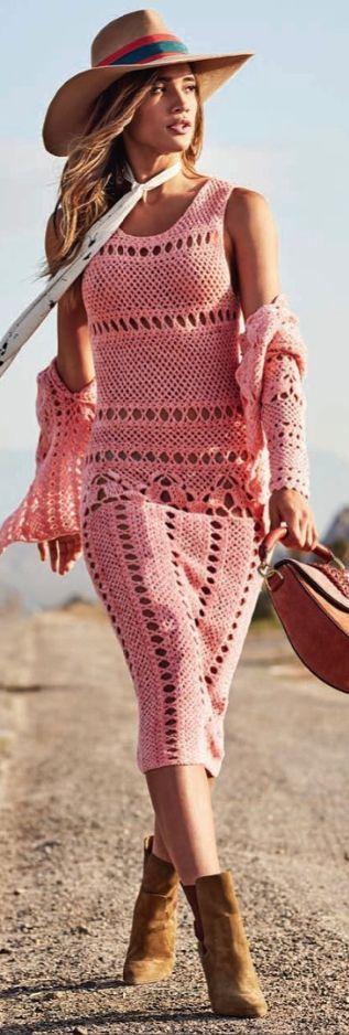 Pink crochet Boho Style... Boho Chic, Boho Fashion, Boho Pink, Boho Summer