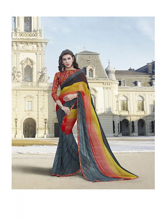 Charming Shaded Grey and Multicolored Printed Saree