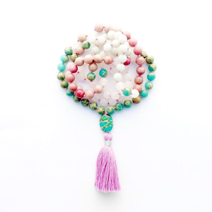 Mermaid Kiss Mala is made of Turquoise Jasper, White Jade, Rhodonite for Balance, Calm, Harmony.