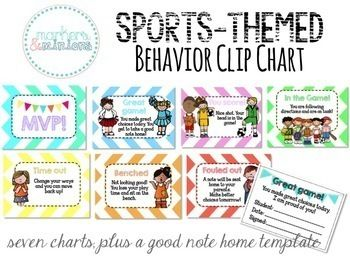 This is a sports themed behavior clip chart. There are three spots to move up and three to move down. It's decorated with cute clip art and chevron!The kids start on the In the Game page and can move up to You Score, Great Game, and MVP. They can move down to Time Out, Benched, and Fouled Out.