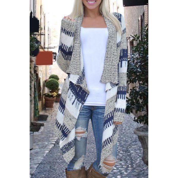 Stylish Long Sleeve Knitted Irregular Loose-Fitting Women's Cardigan