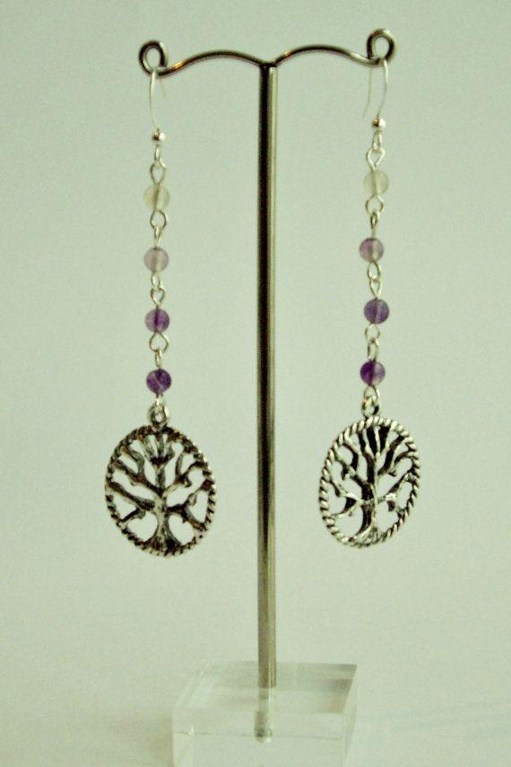 Ombre Fluorite Tree Of Life Earrings on Etsy, $15.00 AUD