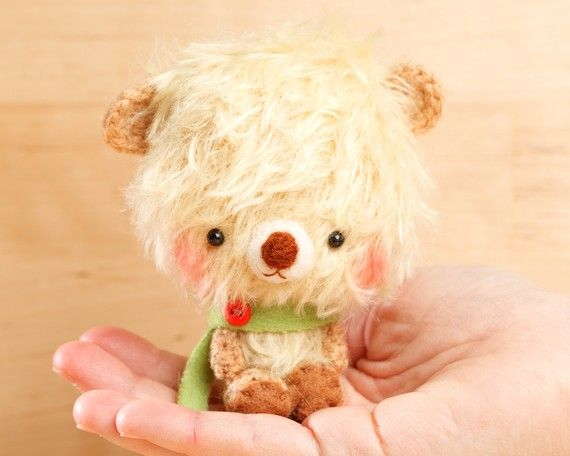 These are the most adorable little teddy bears ever.  I want one fe myself!!!  Teddy bear plush doll in yellow   made to order  by knittingdreams
