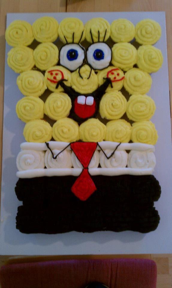 SpongeBob SquarePants Cupcake Cake.. My granddaughter would love this...Amazing idea..