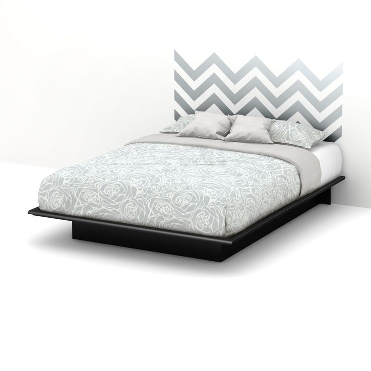 South Shore Step One Queen Platform Bed with Gray Chevron Headboard Ottograff Wall Decal (Queen Platfrom Bed with Gray Chevron Headboard), Black