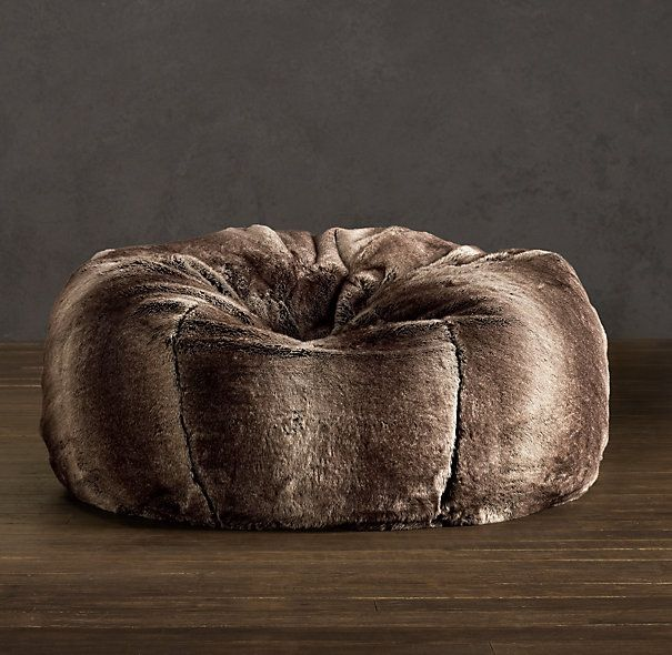 Grand Luxe Faux Fur Bean Bag Chair   Mink From Restoration Hardware