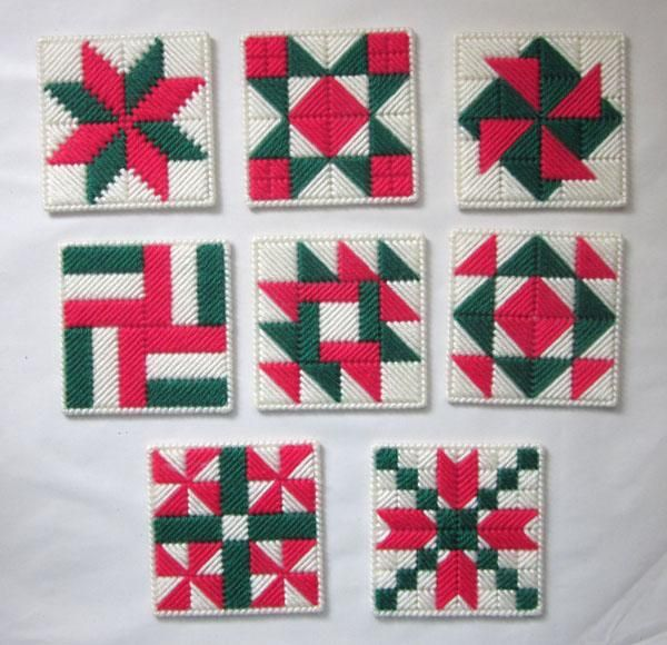 Set of 8 plastic canvas coasters in Christmas-themed quilt block designs - USD 10.00 Plastic ...