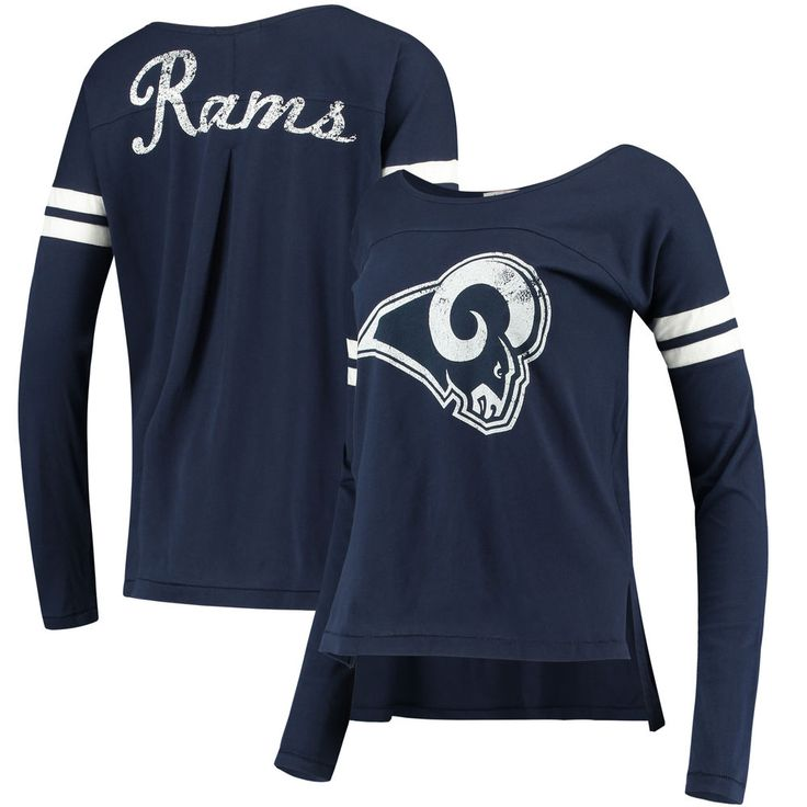6c3e9f6ef ... Womens Los Angeles Rams Touch by Alyssa Milano Navy Free Agent Long  Sleeve T-Shirt ...