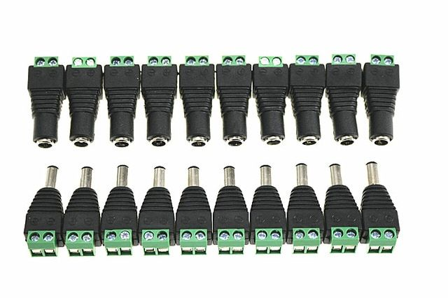 5 PAIRS 12V Male+Female 2.1x5.5MM DC Power Jack Plug Adapter Connector for CCTV