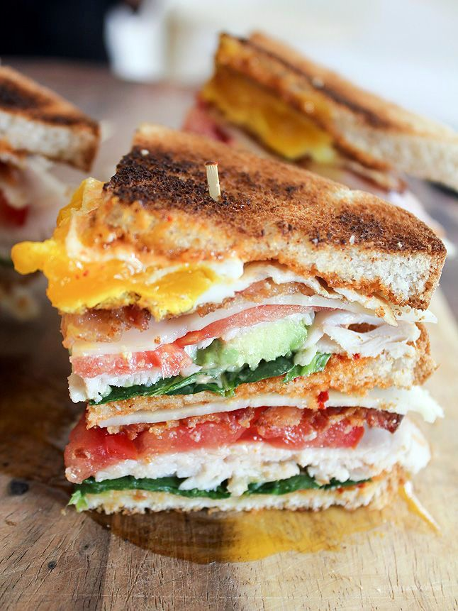 California Club with Chipotle Mayo - Spinach, turkey, tomato, bacon, swiss cheese, fried egg, and avocado1