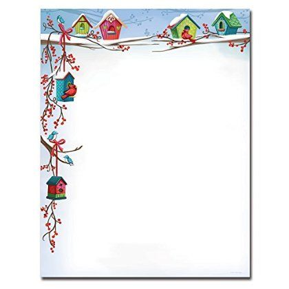 Holiday Stationery for Word | Christmas Birdhouses Holiday Letterhead Printer Paper