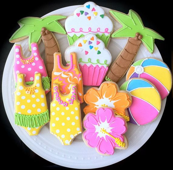 Pool Party Themed Decorated Cookies Perfect for by peapodscookies