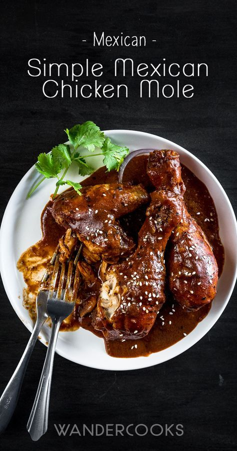 Simple Mexican Chicken Mole Recipe with Dark Chocolate - A rich, aromatic sauce with indulgent dark chocolate and exotic spices, paired with slow-cooked chicken and tortillas. It's a fiesta! | wandercooks.com via @wandercooks