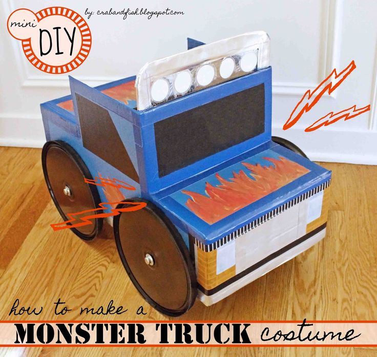 Kids Halloween costume! Have a child that can't get enough trucks? Try this easy DIY monster truck halloween costume from a cardboard box.