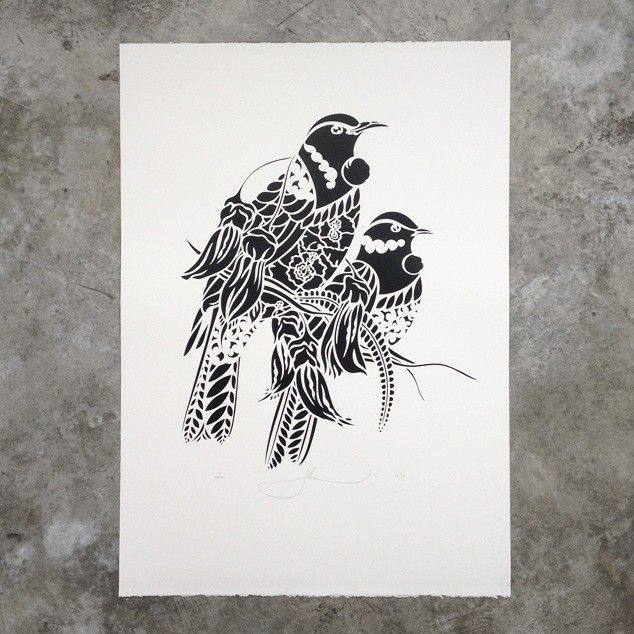 Tui rua screen print by flox