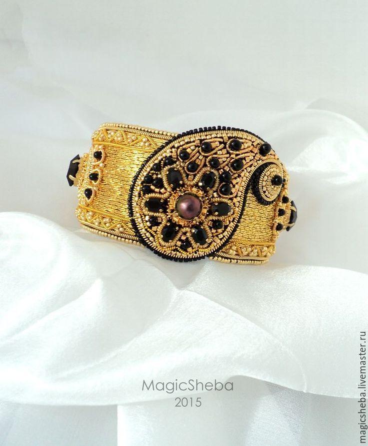 Купить Браслет золотой, вышитый золотом - золотой, золотой браслет, вышитый…