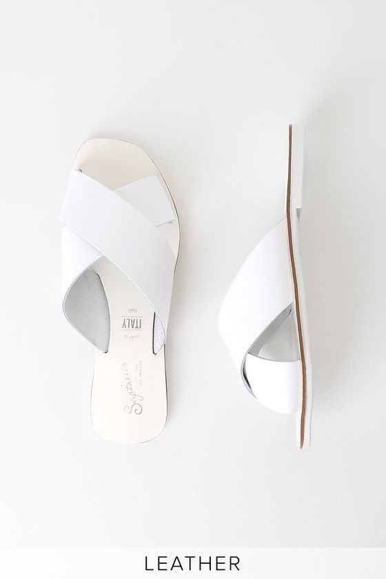 c8ca50ad3 Lulus | Total Relaxation White Leather Slide Sandal Heels | Size 10 ...
